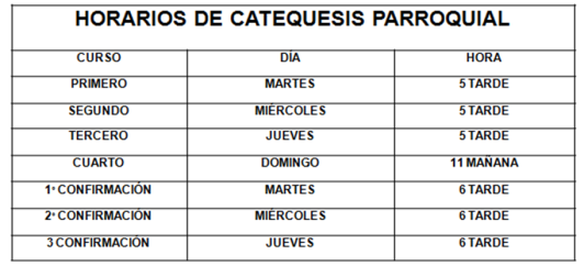 Horario Catequesis